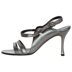Manolo Blahnik Pewter Leather Strappy Sandals Sz 37.5