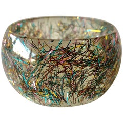 Vintage French 1970's Lucite Confetti Bangle Bracelet