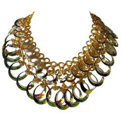Vintage French Haute Couture Gold Crystal Statement Bib Necklace