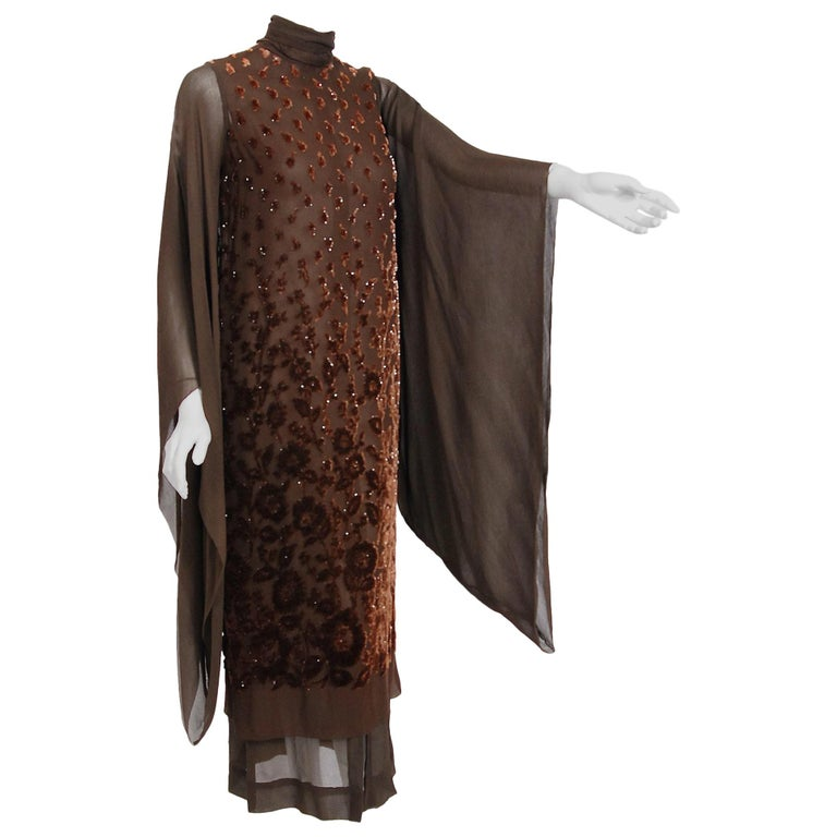 1969 Christian Dior Haute-Couture Brown Floral Flocked Silk Kimono Sleeve Gown For Sale