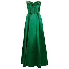 1950's Helga Couture Emerald-Green Beaded Satin Strapless Bombshell Evening Gown