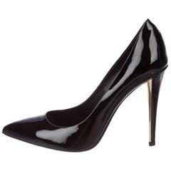 Yves Saint Laurent YSL NEW Black Patent Leather Gold Heel Evening Pumps Heels