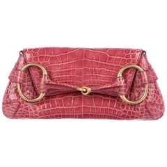 e3ff614495c Gucci Alligator Leather Gold Evening 2 in 1 Envelope Clutch Shoulder Flap  Bag