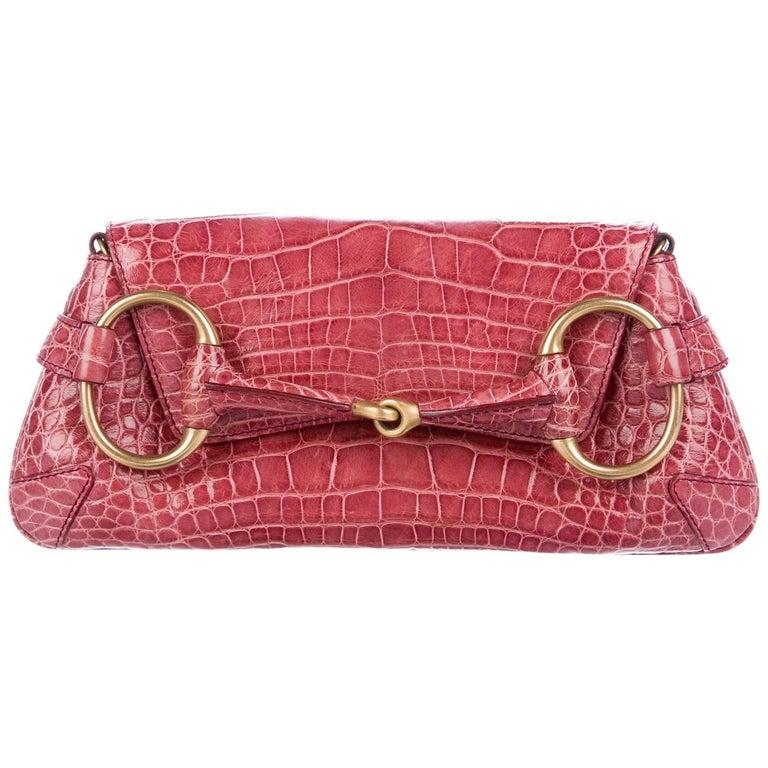 97ea7c5d3c1 Gucci Alligator Leather Gold Evening 2 in 1 Envelope Clutch Shoulder Flap  Bag For Sale. Gucci Alligator Leather Gold Horse Bit ...