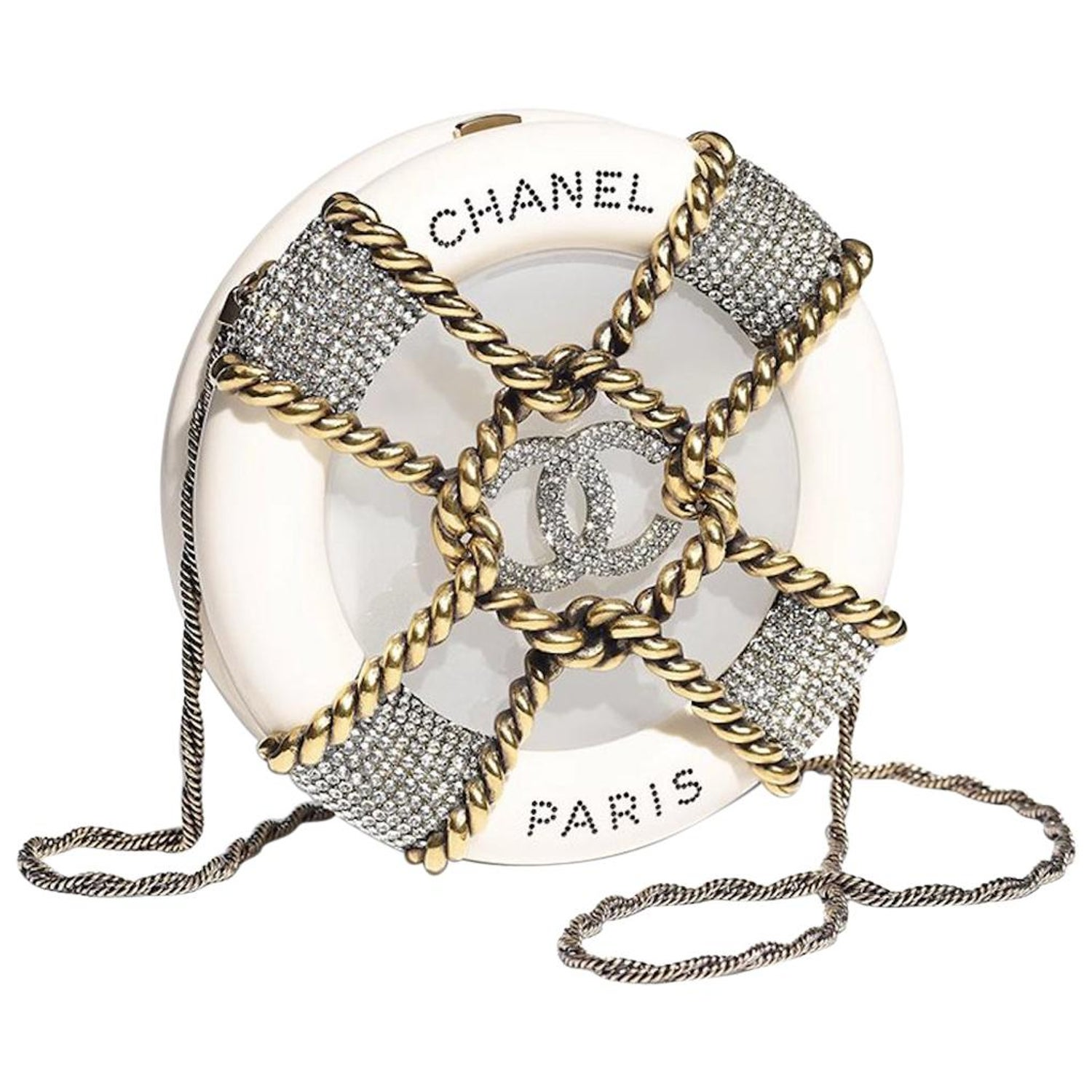 96936aadb006 Chanel NEW Ivory Crystal Round CC Mini 2 in 1 Clutch Evening Shoulder Bag  in Box For Sale at 1stdibs