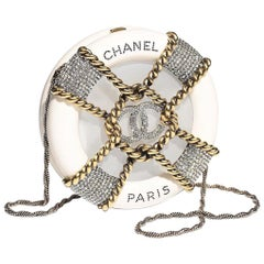 Chanel NEW Ivory Crystal Round CC Mini 2 in 1 Clutch Evening Shoulder Bag in Box