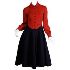 1960s Geoffrey Beene Vintage Red + Navy Blue Wool Mod Dress