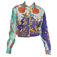 1990s Versace Sea Shell Print Silk Cropped Jacket