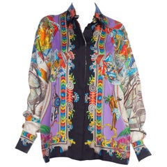 1990s Gianni Versace Atelier Hand Printed World Explorer Silk Blouse