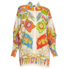 1990s Gianni Versace Miami Collection Silk Blouse with Flags