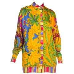 1990s Gianni Versace Atelier Printed Silk Blouse