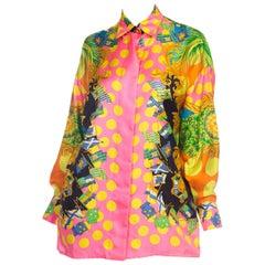 1990s Gianni Versace Miami Collection Polka Dot Tropical Silk Blouse