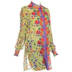 1990S  GIANNI VERSACE Floral Printed Silk Chiffon Sheer Oversized Shirt Sz 42