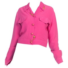 1990s Gianni Versace Hot Pink Punk Safety Pin Collection Jacket