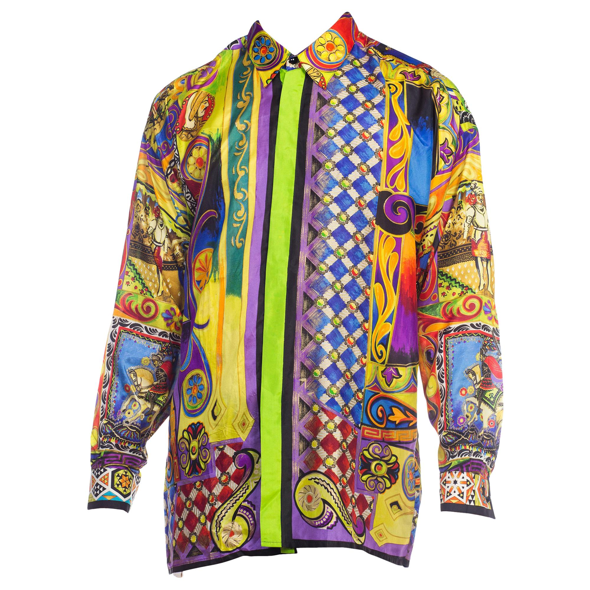 b541ad4bf 1990s Atelier Versace Men's Silk Printed Crocodile and Medusa Shirt with  Knights at 1stdibs