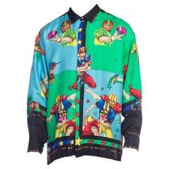 1990s Rare Versace Sports Football Silk Shirt