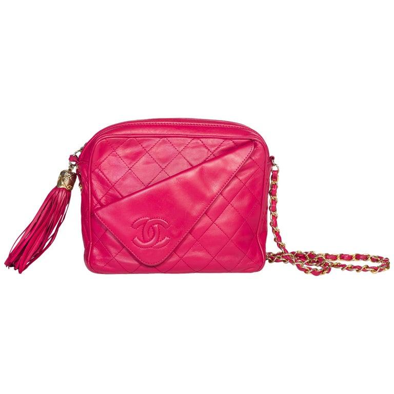 Hot Pink 1980er Jahre, Chanel Handtasche mit Quasten 1