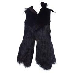 Dolce & Gabbana 1990s Black Shaggy Lamb Fur Vest