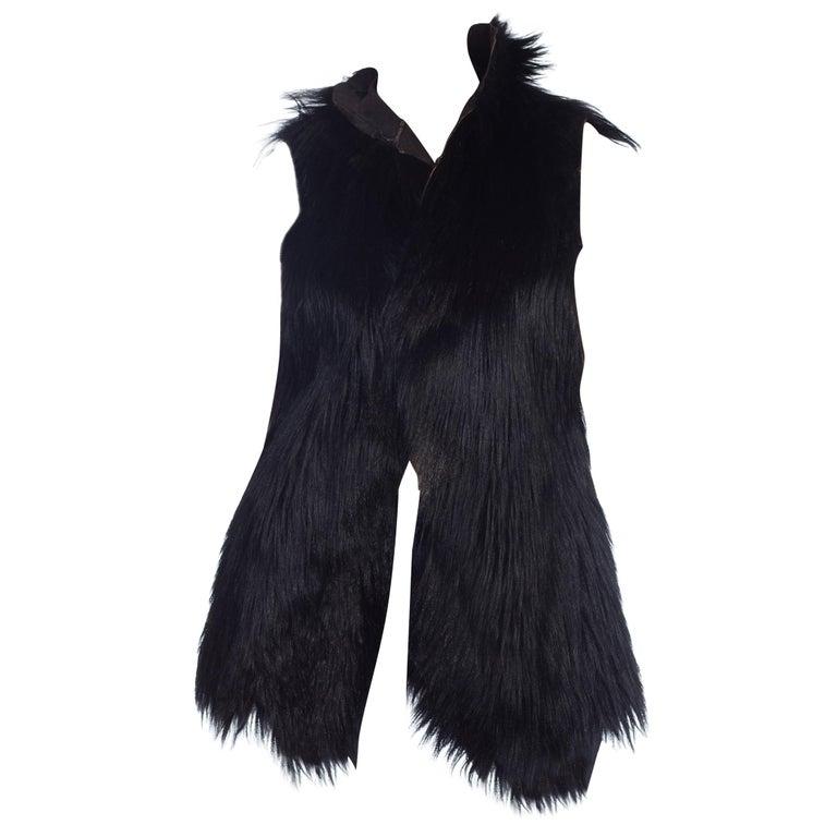 Dolce & Gabbana 1990s Black Shaggy Lamb Fur Vest For Sale