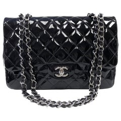Chanel Classic Quilted Jumbo Single Flap Black Patent Bag
