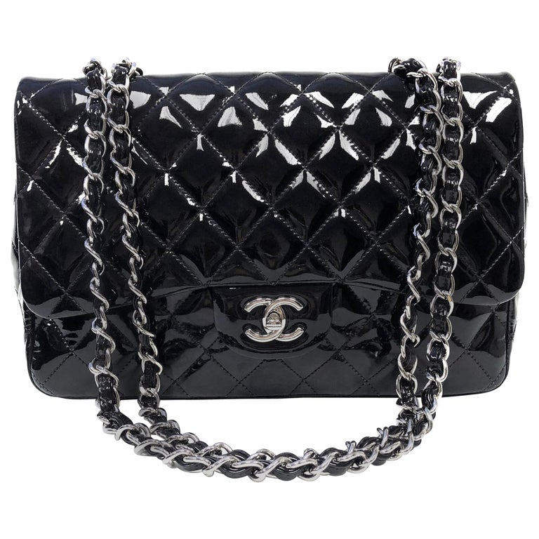Chanel Classic Quilted Jumbo Single Flap Black Patent Bag For