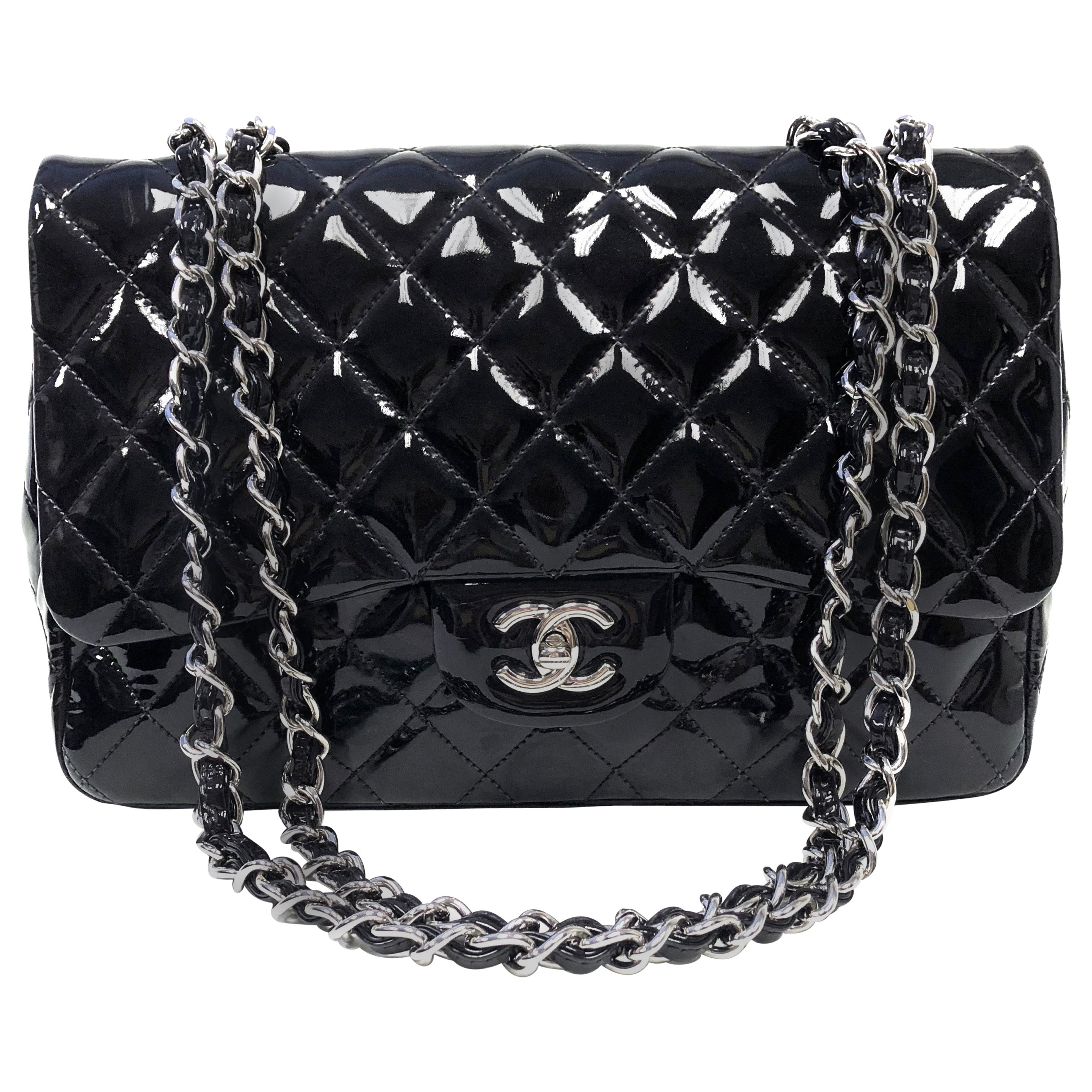 427bc68a8eeadf Chanel Clic Quilted Jumbo Single Flap Black Patent Bag At 1stdibs