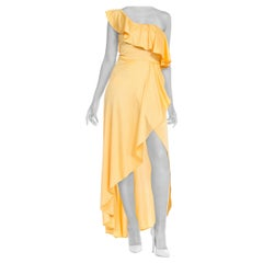 1970s Slinky One Shoulder Yellow Jersey Dress