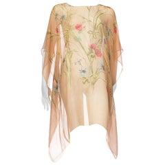 1920s Floral Printed Silk Chiffon Tunic Kaftan