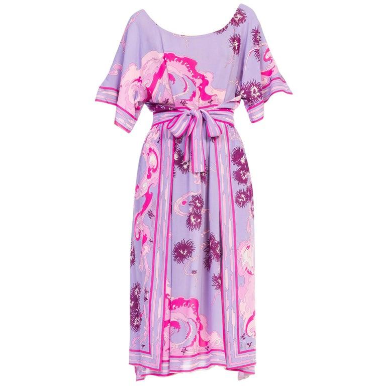 49cf1caa21d53 1970s Emilio Pucci Silk Chiffon Floral Printed Wrap Dress For Sale ...