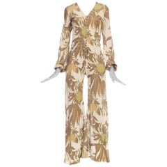 Gold Lurex 1970s / 1960s Floral Disco Jumpsuit
