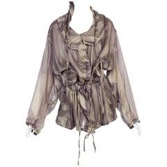 Dries Van Noten Oversized Silk Jacket With Hood