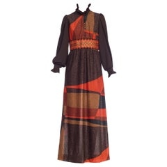 1970s Scandinavian Boho Lurex Victorian 1960s Revival Ruffled Gown