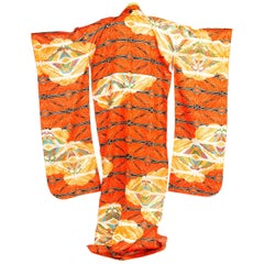 Dramatic Japanese Butterfly Kimono With Gold Hand Embroidery