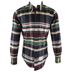 THOM BROWNE Size S Multi-Color Plaid Cotton Long Sleeve Shirt