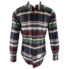 THOM BROWNE Size S Multi-Color Plaid Cotton Long Sleeve Shirt