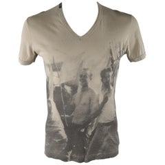 DOLCE & GABBANA Size S Khaki Graphic Cotton V-neck T-shirt