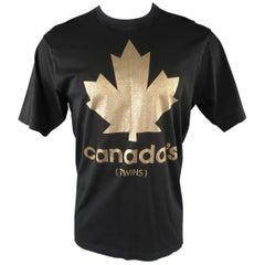 DSQUARED2 Size L Black Graphic Cotton T-shirt