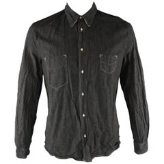 LEVI'S VINTAGE Size M Charcoal Contrast Stitch Chambray Long Sleeve Shirt