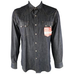 RRL by RALPH LAUREN Size L Indigo Contrast Stitch Cotton Long Sleeve Shirt