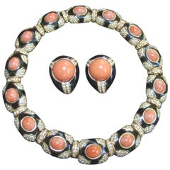 Ciner Coral Resin Jeweled Choker & Earring Ensemble circa 1980