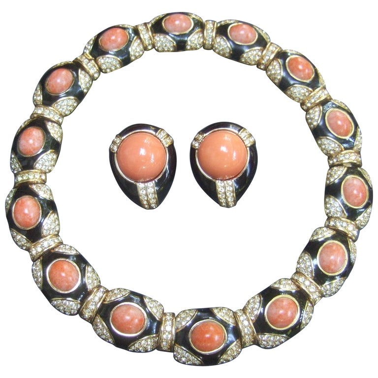Ciner Coral Resin Jeweled Choker & Earring Ensemble circa 1980 For Sale