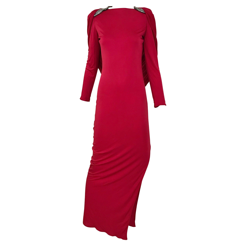 Vintage Valentino Red Silk Jersey Open Back Dress