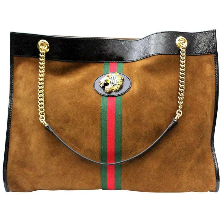 2018 Gucci Brown Suede Rajah Ping Bag Large Size For