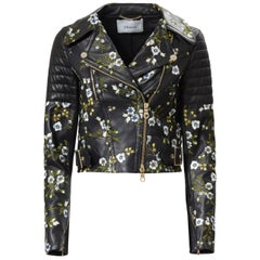Erdem Frazey Floral Embroidered Leather Biker Jacket