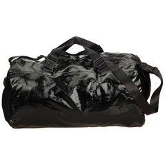 Chanel Black x Gray Coated Canvas Duffle Bag