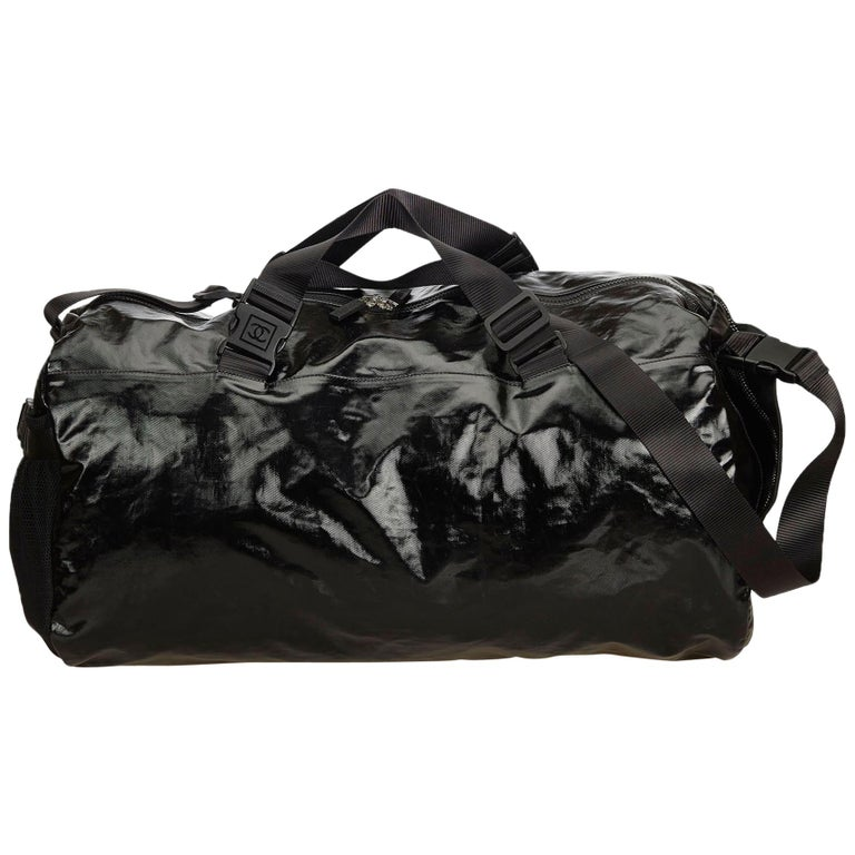 2d638762e318 Chanel Black x Gray Coated Canvas Duffle Bag at 1stdibs