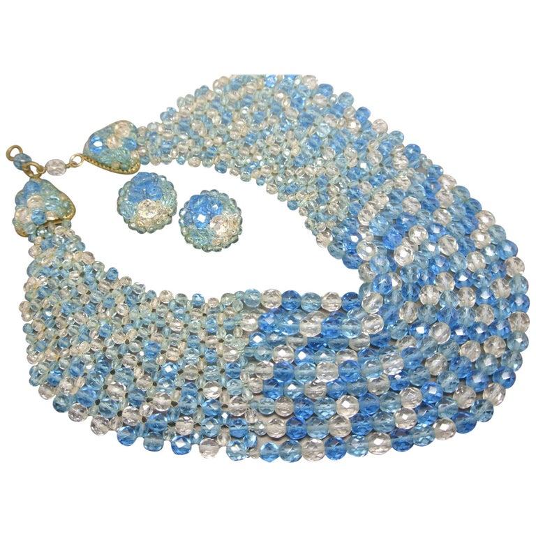 Coppola e Toppo blue glass beaded multi-strand couture necklace For Sale