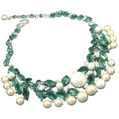 Christian Dior 1960 green irregular crystal faux pearl drop  Necklace