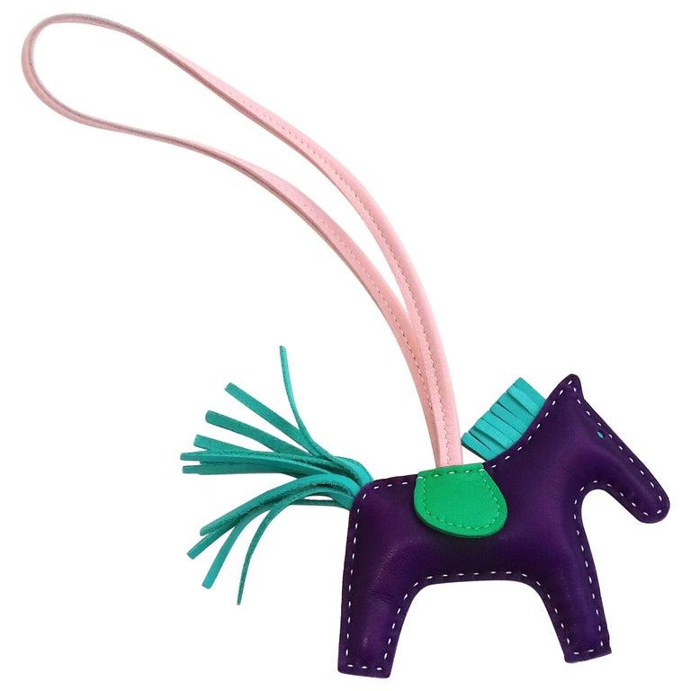 d9f3bfb0ce Hermès Rodeo Grigri Horse Kelly Birkin Bag Charm 4 colorways Raisin PM RARE  For Sale