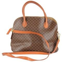 Celine Vintage Brown Macadam Canvas Satchel Bag with Shoulder Strap